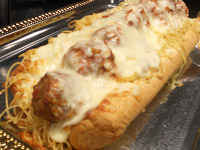 Walking Spaghetti & Meatballs on Cole's Garlic Bread